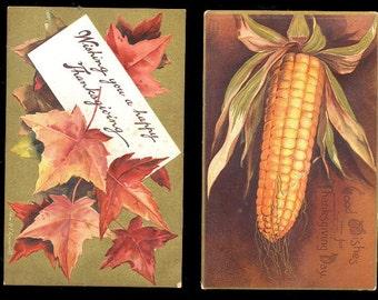 2 1907 Ellen Clapsaddle Thanksgiving Postcards
