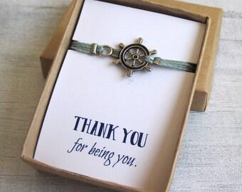 Silver Nautical Bracelet Gift For Him - Men's rudder Bracelet - Birthday Gift Jewelry - Boyfriend Gift - Anniversary Gift for Boyfriend