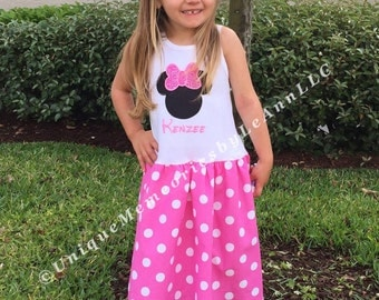 Girls Disney Minnie Mouse inspired tank top dress - Pink skirt, white polka dots & top, Disney trips, Birthdays, Cruises, Parties, Gifts