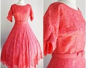 Vintage 1940s Pink Lace Dress / 40s Jack Kopp New Look Dress / Fit and Flare Dress / Dress With Belt / Full Skirt