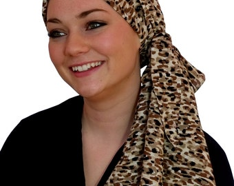 Carlee Pre-Tied Head Scarf,  Women's Cancer Headwear, Chemo Scarf, Alopecia Hat, Head Wrap, Head Cover for Hair Loss - Mocha Delight