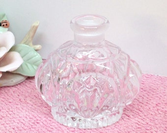 """CRYSTAL PERFUME BOTTLE is a Vintage 3"""" Hollywood Regency French Chic Clear Cut 24% Lead Crystal Perfume Bottle without a Stopper"""