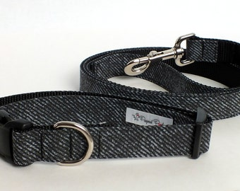 Faux Black Denim Dog Collar and Leash Set