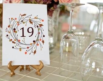 1-30 Fall Wedding Table Numbers, Printable Wedding Table Numbers, Fall Wedding Table Decor, 5x7 Table Number Card, Vintage Fall Wreath