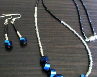 Beaded Blue, Silver, and Black Necklace and Earrings Set
