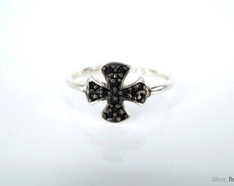 Adjustable/Open 925 Sterling Silver Cross Ring. Black Zircons