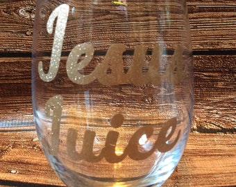 Glitter Glass Jesus Juice Mommy's Sippy Cup Mommy Juice Glitter Wine Glass New mommy gift Gold Glitter Glass Dallas Housewives