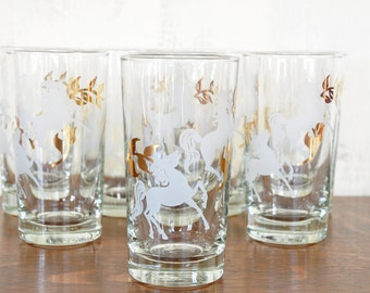 Vintage Horse Glasses, High Ball, Set of Eight, Water Glasses, Barware, Glass Tumblers, Gold Design, Libbey Cavalcade Pattern