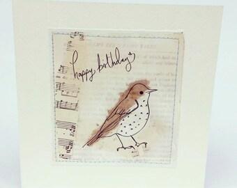 Handmade Collage Thrush Bird Illustration Greeting Card Wildlife Print