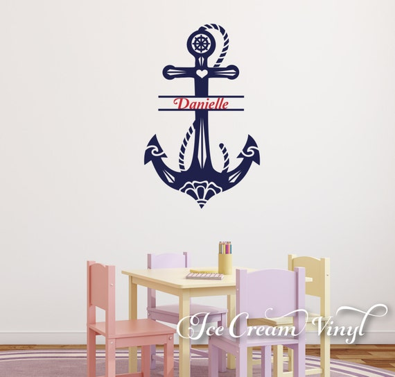 Name Wall Decal -Anchor Vinyl Sticker- Personalized Nautical Decor