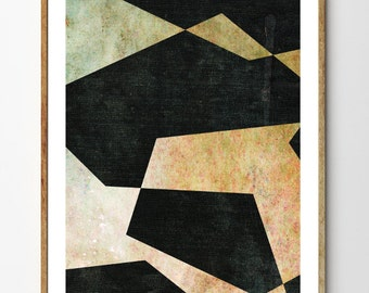 Fragments no.2 - Geometric Poster, Minimalist Print, Mixed Media Collage, Abstract Wall Art, Home Decor