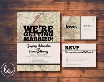Map Wedding Invitation ~ Vintage Map ~ Destination Wedding ~ Wedding Invitation ~ Printed Invitations ~ DIY PRINTABLE