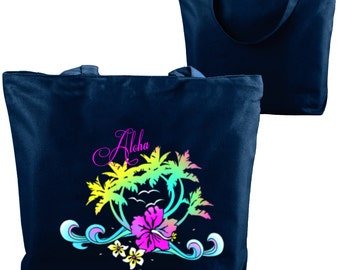 Hawaii Tote/Custom Tote Bag/Neon Custom Tropical Hawaiian Tote/Hawaii Beach Bag/Neon Hibiscus/Neon Palm Trees/Monogrammed/Personalized Name