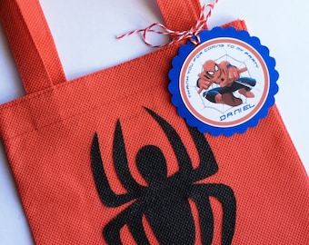 Set of 12 Spiderman Favor Bags with Personalized Thank You Tags, Spiderman, Spiderman Party Bags, Spiderman Birthday, Spiderman Party