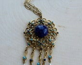Vintage ART Signed Gold Tone Beaded Medallion Necklace