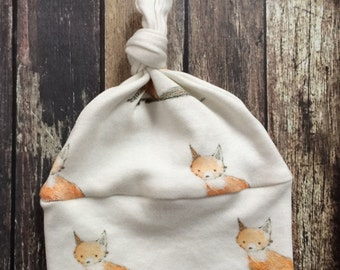 SALE: Organic Knot Hat - Baby Fox - natural baby clothes, fox baby clothes, top knot hat, organic modern baby, organic coming home, preemie
