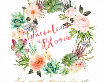 Watercolor Succulent Wreath-Succulent Bloom/Individual PNG files / Hand Painted/Wedding