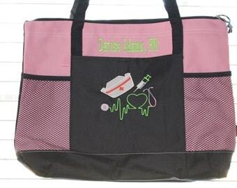Monogrammed Nursing School Gift; Personalized Nurse Tote Bag; RN gift LPN bag Doctor gift
