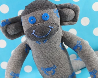 Sock Monkey / Crab / Grey and Blue / Blue and Grey / Ocean Nursery / Ocean Decor / Crab Decor / Blue Crab / Gifts for Him / Gifts for Her