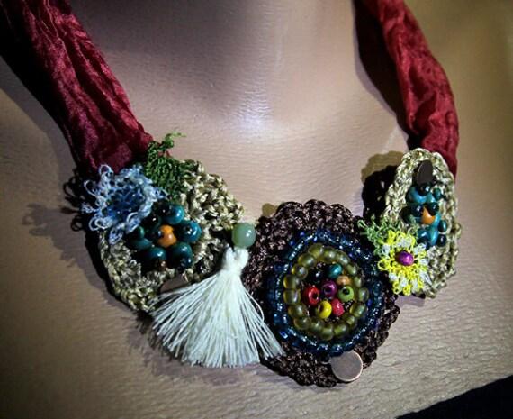 Special handmade crochet necklace /beaded necklace/silk handles/jewelry
