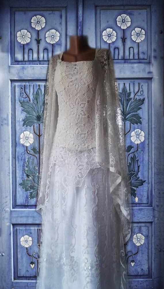 Crochet doily ooak unique wedding dress ivory-white combined. White.ivory.recycled doily.crochet bridal.Bridal 2016