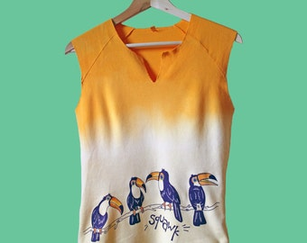 Dip Dyed Chatty Toucan Screen Printed Top/ Vest