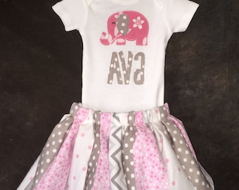 Personalized Elephant Boy or Girl Fabric Scrap Tutu Coming Home Outfit or Onesie