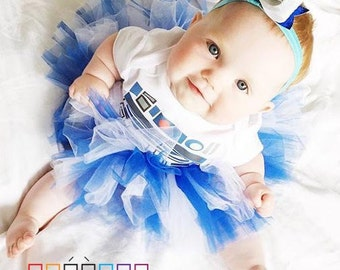 R2D2 Bodysuit, Tutu and Bow  Birthday Party Costume R2D2 Bodysuit Baby or Toddler Costume - OnePiece and Bow Outfit for Geeks and Nerds