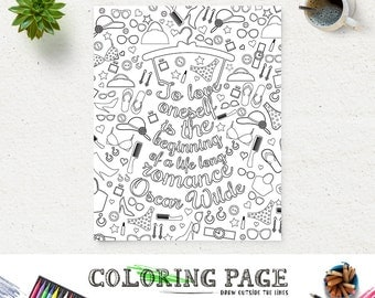 Coloring Page Oscar Wilde Printable Quote Instant Download Art Print Zen Adult Pages Anti