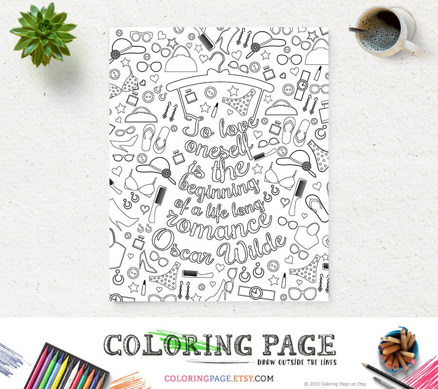 Printable Coloring Pages Zen : Coloring page oscar wilde printable quote instant download art
