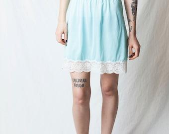 Baby Blue Slip Skirt - 90s Grunge