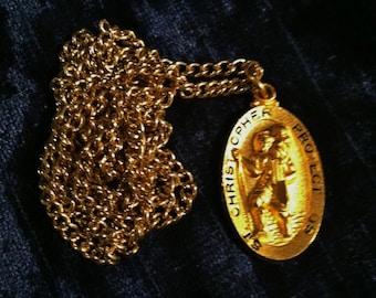Vintage Gold Saint Christopher Necklace