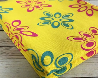 Yellow Cotton fabric, sewing material, Matting cotton hand dyed bright yellow, hand printed with ellipse pattern in green and magenta
