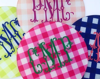 """Large 12"""" Gingham Personalized/Monogrammed Glass Cutting Board"""