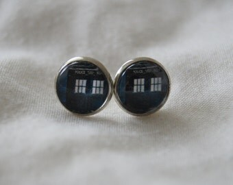 Tardis/Dr. Who Cameo Earrings