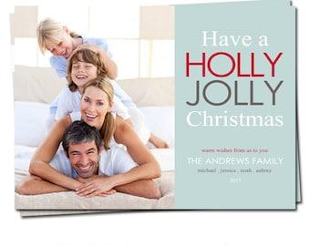 Holiday Photo Card - Christmas Photo Card - Holiday Printable Card - Holly Jolly Christmas Photo Card