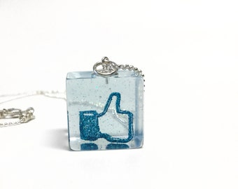 Thumbs-up like hand pendant sterling silver necklace, high quality blue glitter resin cube jewelry, handmade, gift for girls