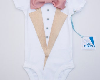 Rose Gold Baby Tuxedo bodysuit, baby tux, boy photo prop, take home outfit, baby tuxedo, wedding tuxedo for boys, newborn boy outfit