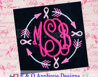 Arrow Cancer Ribbon Embroidery Design - Ribbon Monogram Machine Embroidery Frame - Cancer Monogram Digital Embroidery Design