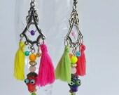 Dia de los Muertos - Long chandelier earrings - halloween earrings - Day of the Dead Skull Bead - skull jewelry - bohemian style - Colorful