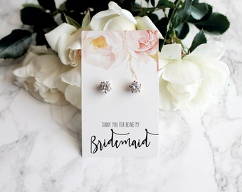 """Margot- 18k Rose Gold plated, Cubic Zirconia """"Will you be my bridesmaid?"""" Gift Earrings"""