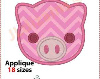Pig Applique Design. Pig embroidery design. Embroidery design pig. Applique pig face. Embroidery applique pig. Machine embroidery design.