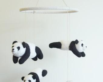 Giant Panda nusery mobile, Crib Mobile, Baby Mobile, Needle Felted Giant Panda mobile for nursery decor.