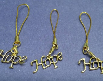 Gold HOPE Cell Phone Charm on a gold cord. Inspirational accessories. Zipper Pull.
