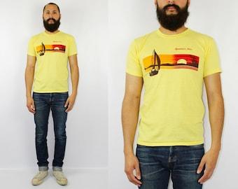 Spooner Wisconsin Yellow Tourist Tshirt - 80s 70s Vintage Wisconsin Tourist Tee - Medium