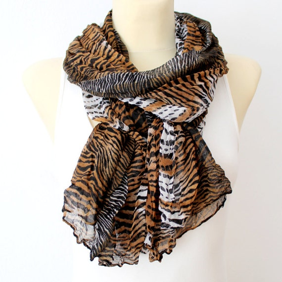 Mothers Day Gift Idea - Animal Print Scarf - Women Fashion Scarf - Unique Fabric Scarf - Zebra Scarf - Womens Accessories - Gift for her