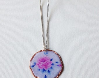 Handmade  Pink Rose Copper Pendant / Silver 925 Chain