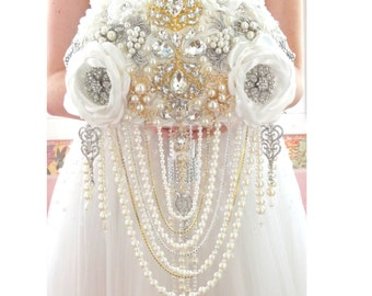 BROOCH BOUQUET silver jeweled, crystal cascading wedding bridal broach boquet. Gold and silver jeweled