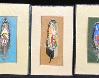 Set of 5 Original Painting Hand Made Feather Art Costa Rica by Luis Sanchez