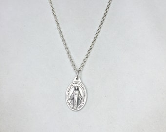MIRACULOUS MEDAL Necklace~Religious Medal-Mary Immaculate Conception-Thick or thin chain-religious gift-confirmation-grads-Christian jewelry